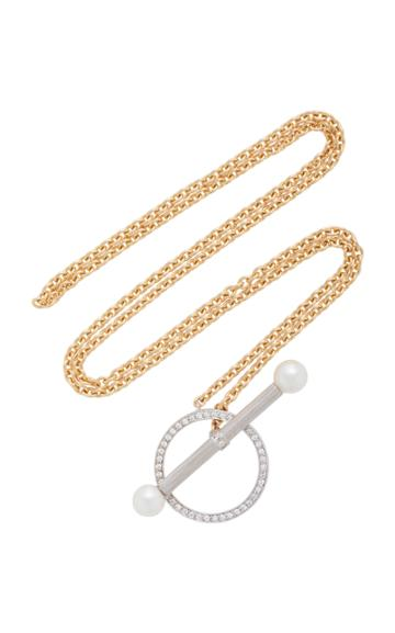 Yvonne Leon Barre 18k Gold Diamond And Pearl Necklace
