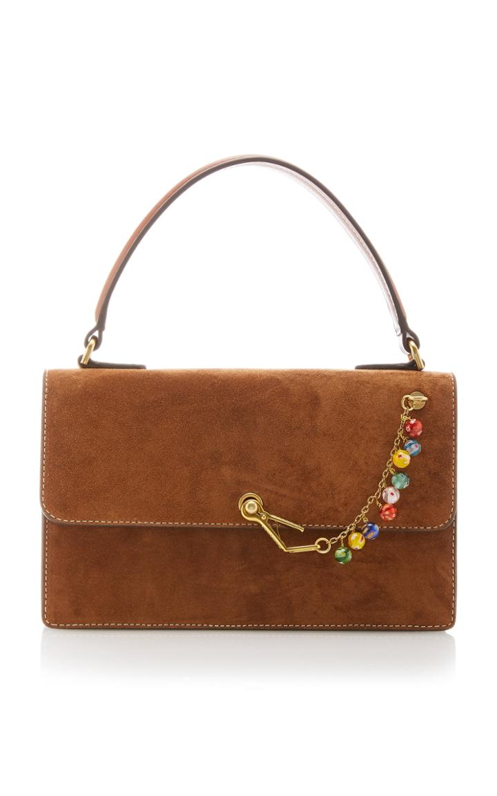 Moda Operandi Staud Jackie Embellished Suede Top Handle Bag