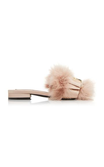 N21 Feather Satin Flat Mules
