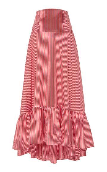 Mds Stripes Ruffle Bottom Skirt