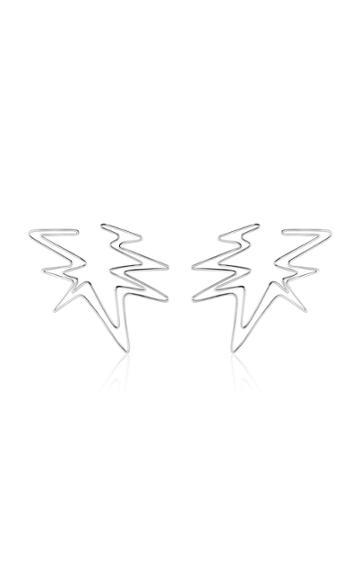 Kendra Pariseault Sound Wave Hoop Earrings In White Gold