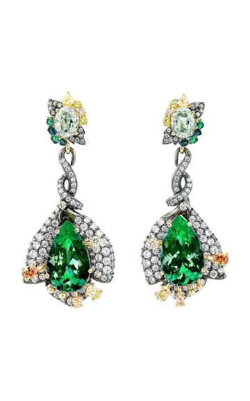 Moda Operandi Anabela Chan 18k Black Rhodium Emerald Fuchsia Earrings