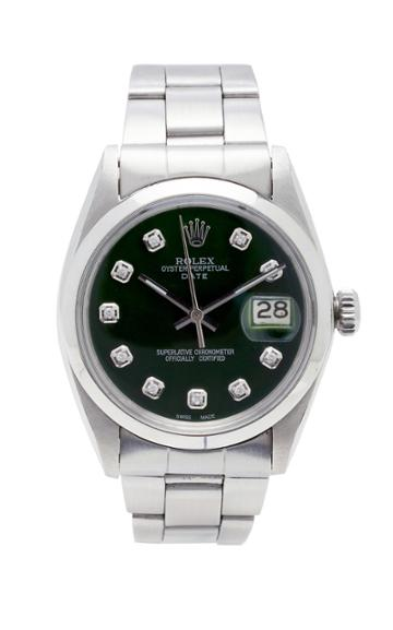Vintage Watches Rolex Date Green Pearlized Diamond Dial