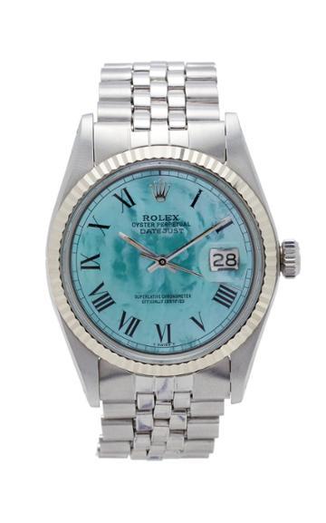 Vintage Watches Rolex Datejust Aqua Green Pearlized Roman Dial