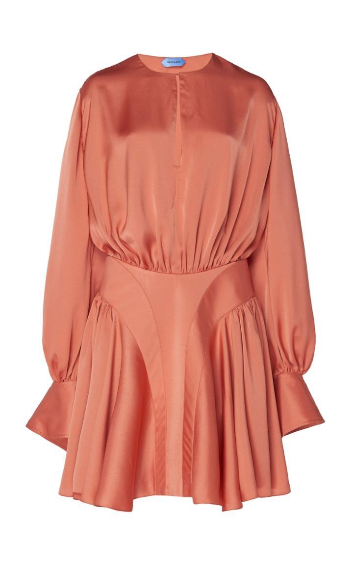 Moda Operandi Mugler Draped Satin Mini Dress Size: 34