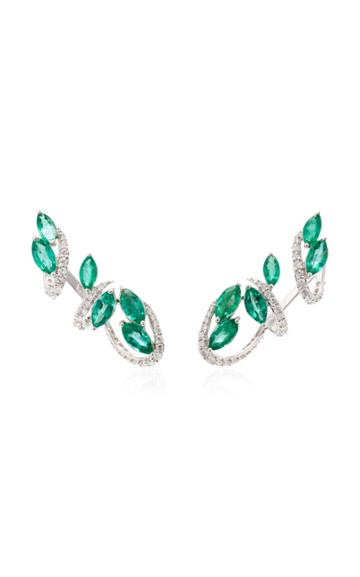 Hueb M'o Exclusive 18k White Gold Emerald And Diamond Earrings