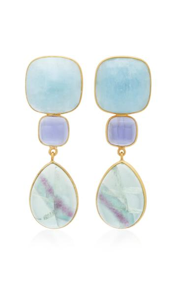 Bahina 18k Gold Lolith And Fluorite Earrings