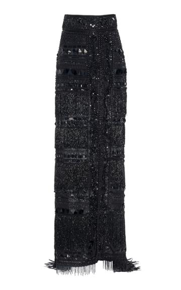 Dundas Embroidered Silk Maxi Skirt With Slit