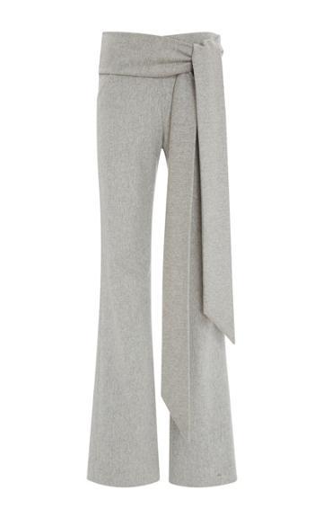 Sally Lapointe Lightweight Wool Wrap Pant Melange Gray