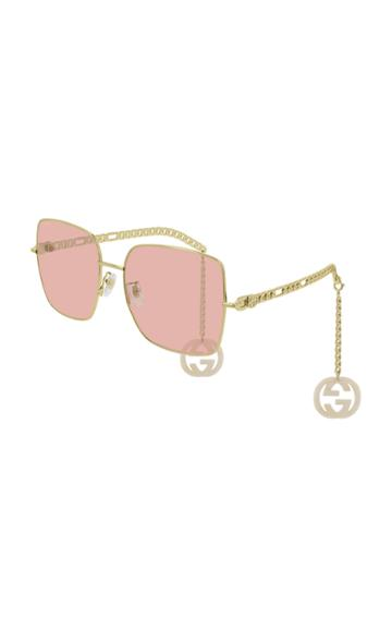 Gucci Chain-detailed Square-frame Sunglasses