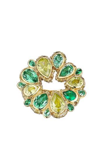Moda Operandi Anabela Chan 18k Yellow Gold Emerald Pave Panettone Ring