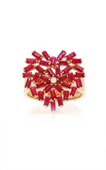 Moda Operandi Suzanne Kalan 18k Rose Gold Medium Flat Ruby Heart Ring Size: 4