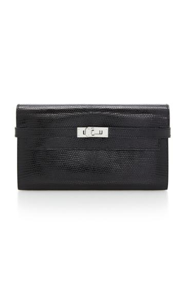 Herms Vintage Herms Black Lizard Kelly Wallet