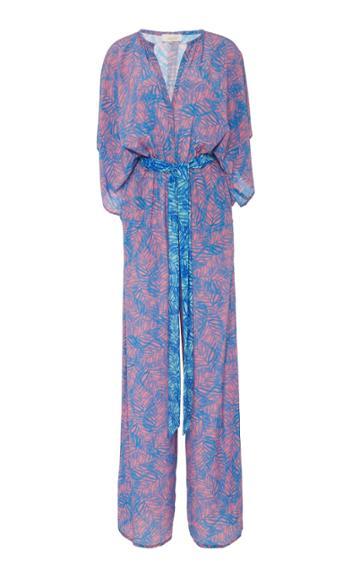 Jaline Natasha Feather-print Wide-leg Silk Jumpsuit