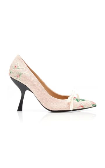 Brock Collection Bow-detailed Floral-jacquard Pumps