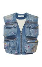 Off-white C/o Virgil Abloh Painted Distressed Denim Vest