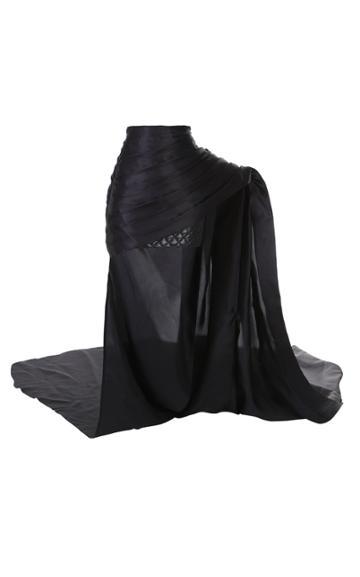 Balmain Silk Layered Draped Organza Skirt