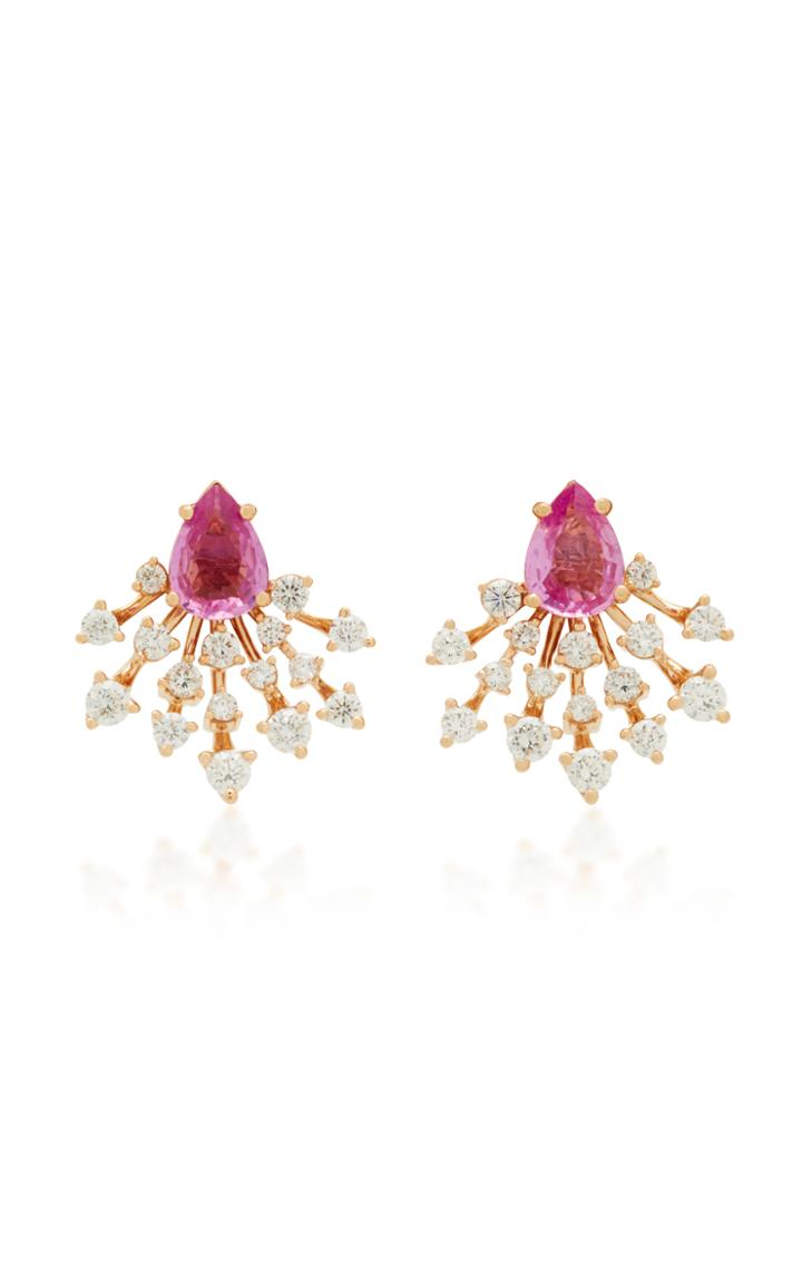 Hueb Luminus 18k Gold Diamond And Sapphire Earrings