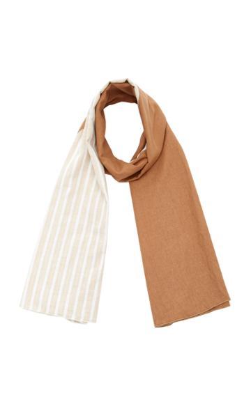 Donni. Diagonal Reversible Linen-blend Scarf