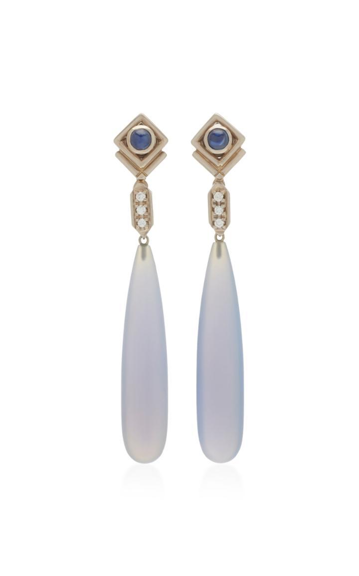 Sorab & Roshi 18k White Gold Sapphire And Diamond Teardrop Earrings