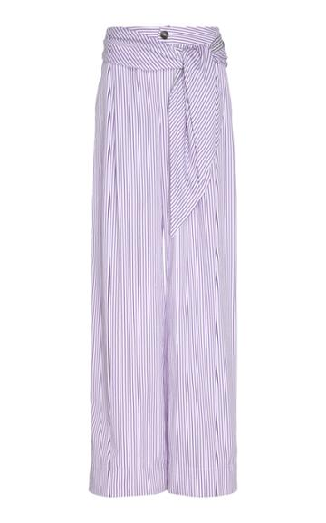 Thierry Colson Loulou Striped Cotton And Silk-blend Wide-leg Pants