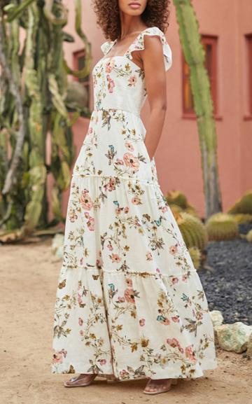Moda Operandi Monique Lhuillier Floral Tiered Linen Maxi Dress