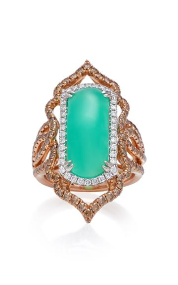 Sara Weinstock Imperial 18k Gold Chrysoprase And Diamond Ring