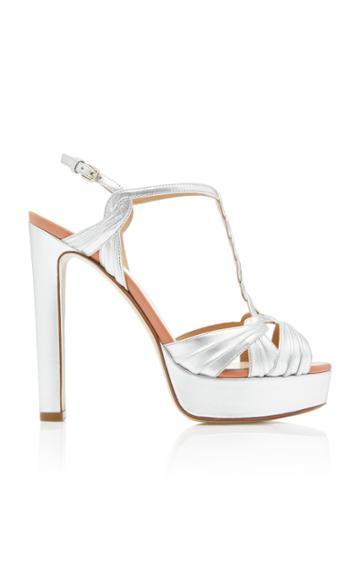 Francesco Russo Metallic Leather Platform Sandals