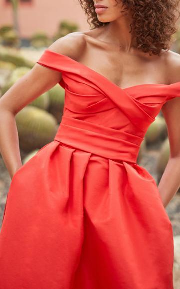 Moda Operandi Monique Lhuillier Faille Off-the-shoulder Gown