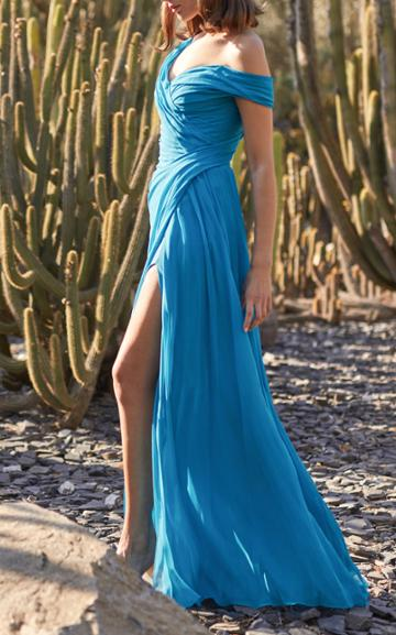 Moda Operandi Monique Lhuillier Asymmetric Draped Chiffon Gown