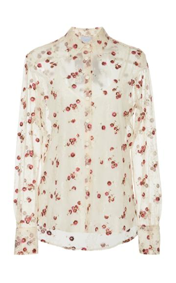 Luisa Beccaria Sheer Floral Embroidered Sheer Blouse