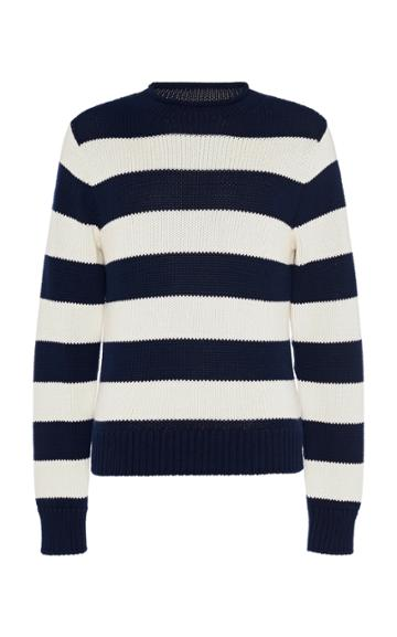 Ralph Lauren Purple Label Striped Cotton And Cashmere Rollneck Sweater