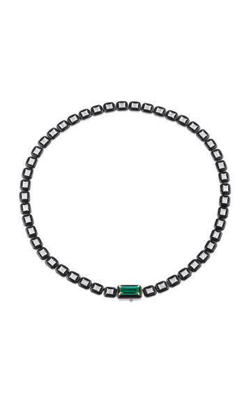 Nikos Koulis Oui Necklace With Emerald Cut White Diamonds Emerald And Black Enamel