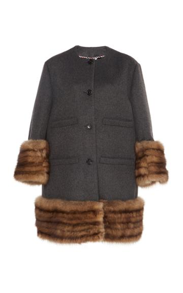 Thom Browne Oversized Fur-trimmed Cashmere Cardigan