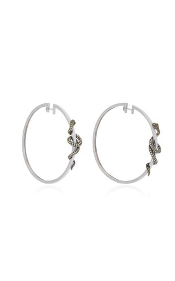 Wendy Yue 18k White Gold Diamond Hoop Earrings