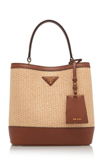 Prada Medium Raffia And Saffiano Leather Bucket Bag