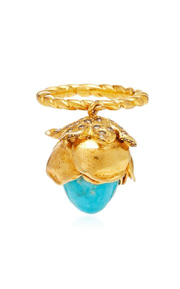 Sylvie Corbelin One-of-a-kind Mobile Turquoise Flower Ring