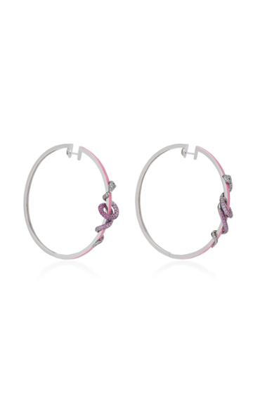 Wendy Yue 18k Gold And Pink Sapphire Hoop Earrings