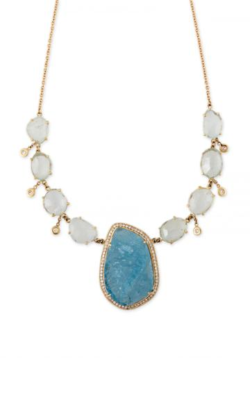 Moda Operandi Jacquie Aiche 14k Yellow Gold Aquamarine And Diamond Shaker Necklace