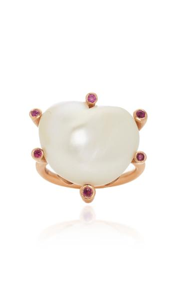 Christina Alexiou Heart Shaped Pearl Ring With Rubies