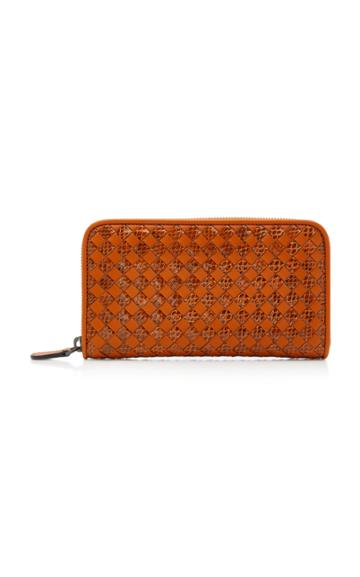 Bottega Veneta Check Leather And Snakeskin Zip Wallet