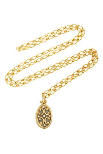 Monica Rich Kosann Oval Gate Diamond Locket 30 Necklace