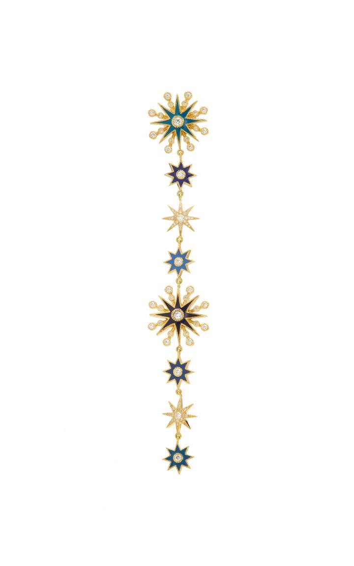Colette Jewelry Chameleon 18k Gold, Enamel And Diamond Single Earring