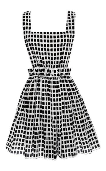 Preorder Kalmanovich Black And White Checkered Dress With Cinched Waist