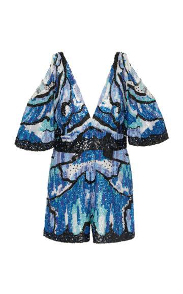 Zuhair Murad Cold-shoulder Embroidered Silk-blend Jumpsuit