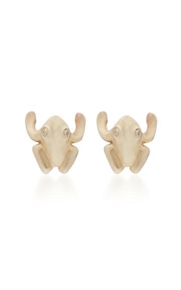 Annette Ferdinandsen Frog 14k Gold And Diamond Stud Earrings
