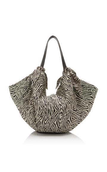 Nanushka Inda Zebra Print Knit Bag