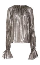 Hensely Metallic Shirred Top