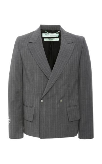 Off-white C/o Virgil Abloh Double-breasted Pinstripe Wool-crepe Blazer
