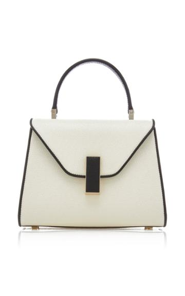 Valextra Retro Iside Small Leather And Canvas Top Handle Bag